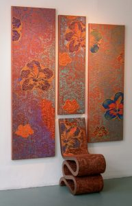 3 Artwork Panels by Ricardo Pelaez, miami etra fine art gallery opening reception, art exhibit, red canvas, floral artwork red canvas, modern abstract contemporary art for sale