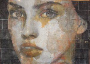 Portrait by Simona Fidele, italian original portrait on sale, miami etra fine art gallery, art exhibit contemporary modern style, woman, eyes, lips