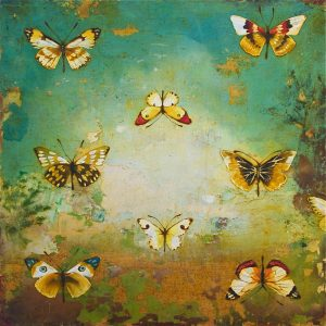 8.5 Butterflies by Chris Reilly, miami etra fine art gallery, buy canvas art, famous contemporary artist, butterflies, blue, yellow, canvas, encaustic, buy art