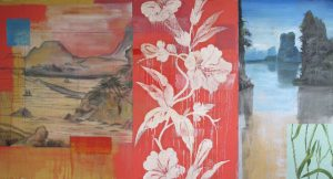 Canvas Artwork by Tom Judd, red, floral artwork blue water cliffs, desert mountains for sale, famous contemporary artist, miami etra fine art gallery, new exhibit, red, white