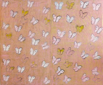 Canvas Art by Hunt Slonem, pink butterflies, white yellow, square canvas art for sale, famous contemporary artist, miami etra fine art gallery, art for sale