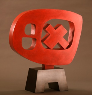 Sculpture by Julie Speidel, red sculpture for sale, famous contemporary modern artist, abstract sculpture, fall group art exhibit, 2010