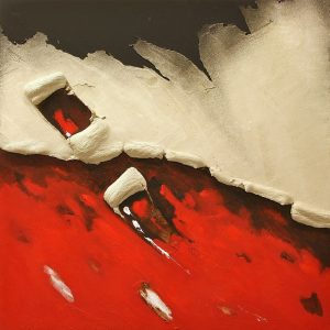 """""""Territorio de Calam"""" by Antoni Amat, mixed media on wood, red, famous contemporary artist on sale, miami etra fine art gallery canvas for sale,"""