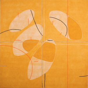 """""""Internal Migrations"""" by Mario Vélez, mixed media on canvas, yellow orange, famous contemporary artists for sale, miami etra fine art gallery, nyc fine art for sale"""