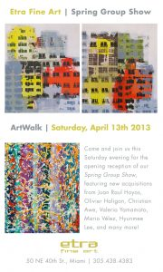 Spring Group Show, ArtWalk, art exhibit, famous contemporary artists, juan raul hoyos, oliver haligon, christian awe, valeria, yamamoto, mario velez, hyunmee Lee, miami etra fine art gallery, new acquisitions
