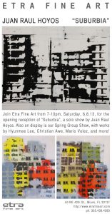 "Juan Raul Hoyos, ""Suburbia"" - Opening Reception, miami etra fine art gallery, city artwork for sale, famous contemporary modern artist, red, yellow, black and white canvas artwork for sale, opening reception exhibit"