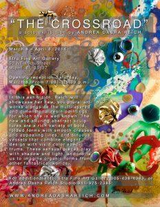 Andrea Dasha Reich's Exhibit Invite, mixed media canvas for sale, miami etra fine art gallery, famous contemporary fine artist, florida event invite