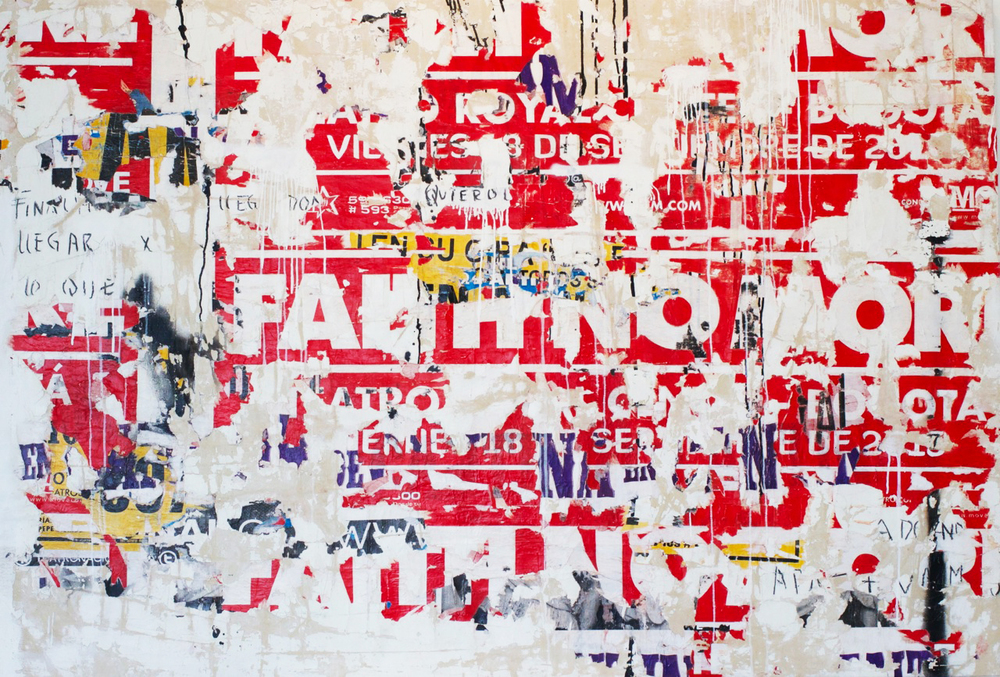 Mixed media on linen by Ana Maria Gutierrez, miami etra fine art gallery, new artist acquisitions, red, letters, famous contemporary artwork for sale, colombian abstract artist black, white, canvas
