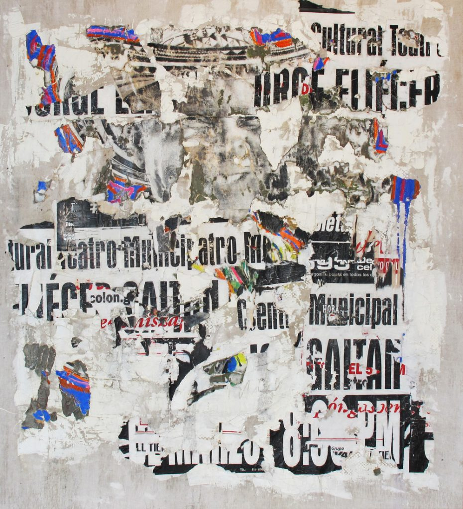 Mixed media on linen by Ana Maria Gutierrez, miami etra fine art gallery, new artist acquisitions, famous contemporary artwork for sale, colombian abstract artist black, white, canvas, letters