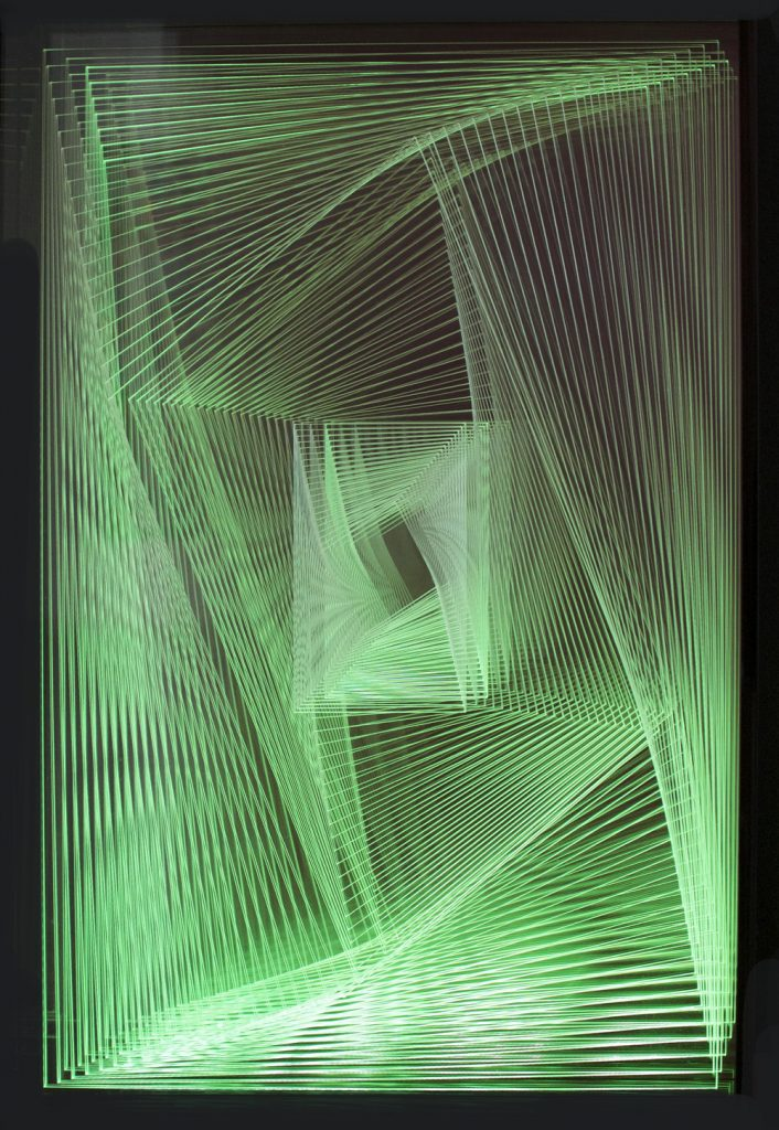 Dinamica V2 by Gisseline Amiuny, green LED light installation, lightbox sculpture for sale, famous contemporary artist green squares, miami etra fine art gallery