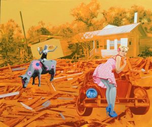 Transport Forms 2 by Andriy Halashyn, orange, women, cow, car, house, miami etra fine art gallery, canvas for sale, contemporary artist, ukranian oil painting for sale,