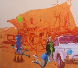 Andriy Halashyn Transport Forms, oil painting for sale, miami etra fine art gallery, contemporary pop artist, famous painter for sale artwork, orange car, women, blue, tree, house
