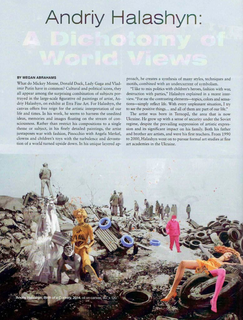 magazine, Andriy Halashyn interview, birth of a country, black and white, prostitute, women, colorful ukraninan pop artist, miami etra fine art news