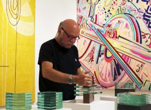 Sculptor Ronny Vayda, famous sculptor, miami etra fine art gallery, glass sculptures for sale, famous artwork by sculptor, man, watch, canvas, glasses, square sculptures