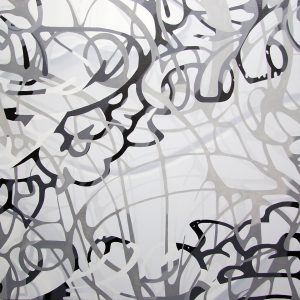 Another Double Touch by Robert Brinker, black and white oil painting for sale, famous canvas abstract art for sale, miami etra fine art gallery news,