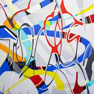 Another Go-Around by Robert Brinker, colorful oil painting for sale, contemporary artwork for sale, abstract modern art, miami etra fine art gallery news, famous painter
