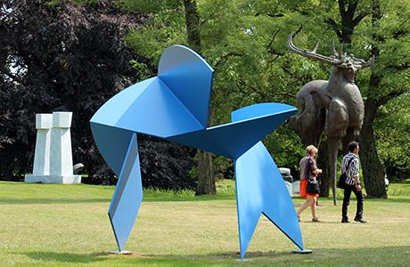 nordart sculpture garden, blue large contemporary art sculpture, horns, elk, grass, people, miami etra fine art gallery, contemporary gallery, news
