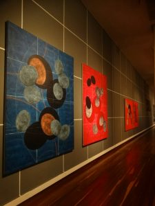 Canvas Artworks by Mario Vélez, colorful modern abstract art, miami etra fine art news, gallery, wooden floor, colombia gallery