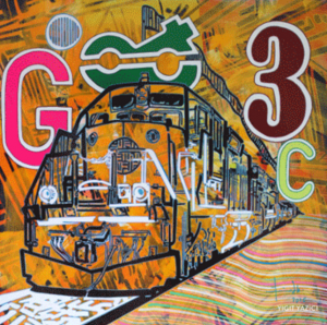 Colorful Artwork by Yigit Yazici, yellow,orange, black, G, 3, C, miami etra fine art gallery art for sale, modern contemporary canvas for sale, famous modern artist
