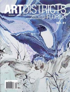 ArtDistricts magazine florida cover no 41 by DIEGO SANTANELLI, blue, white, abstract american italian contemporary artist, modern canvas for sale, miami etra fine art gallery news, oil painting, april-may 2016,