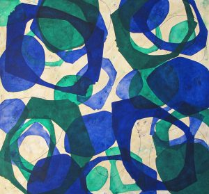 by Fernando Varela, blue, green circles, famous abstract painting for sale, miami etra fine art gallery, famous contemporary artwork for sale, oil on canvas, square, news