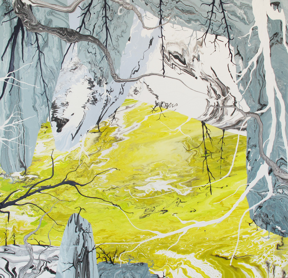 Apocalypse Zero #7M by Diego Santanelli, miami etra fine art gallery, buy pianting, art buy abstract, yellow, gray, white, trees